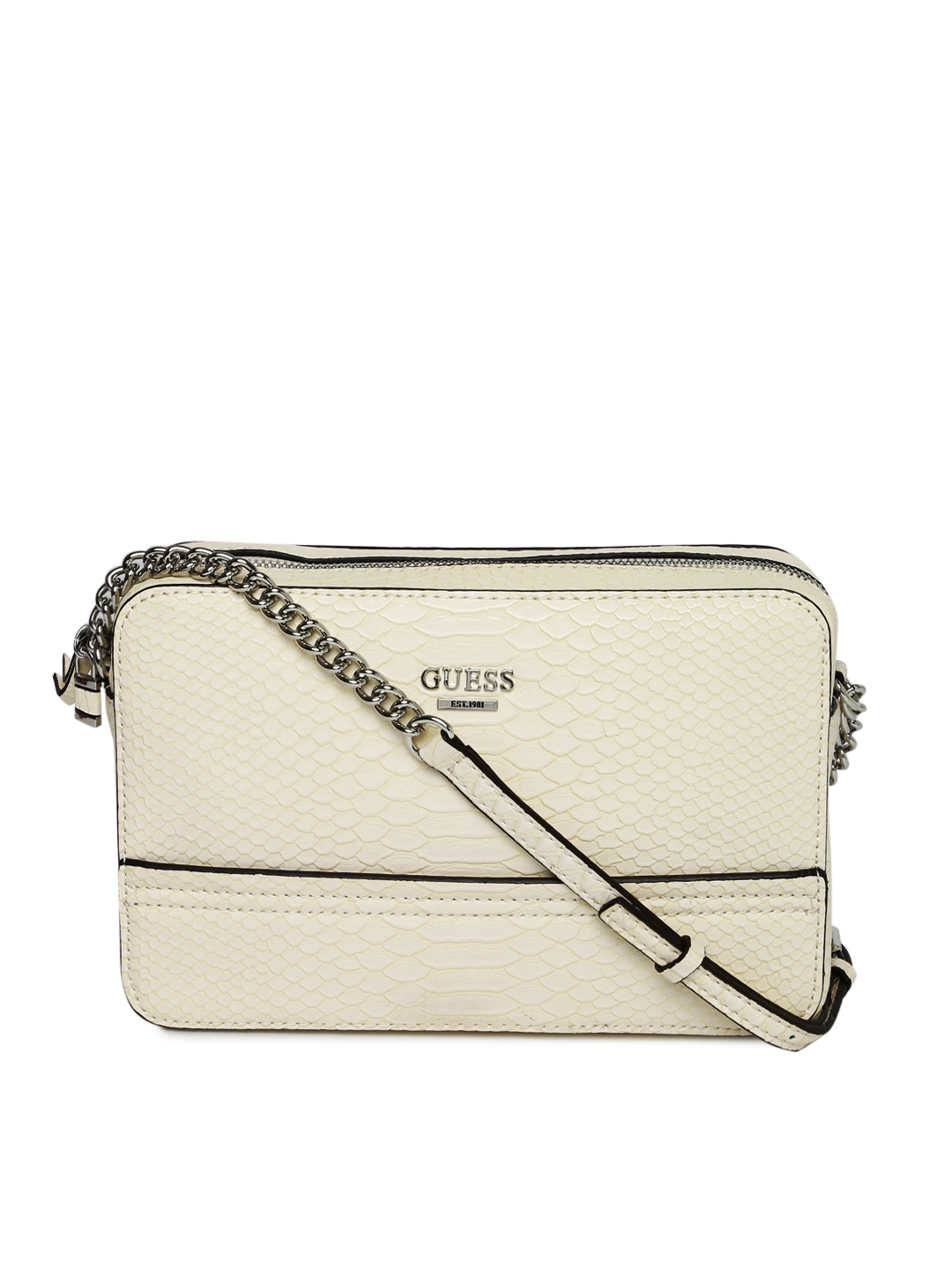 Buy GUESS Off White Snakeskin Textured Sling Bag - Handbags for ... 8b83cea95a