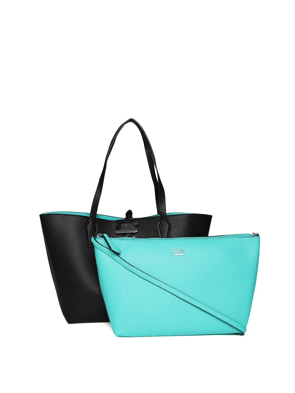 950525f459c3 Buy GUESS Black   Sea Green Reversible Tote Bag - Handbags for Women  1738147