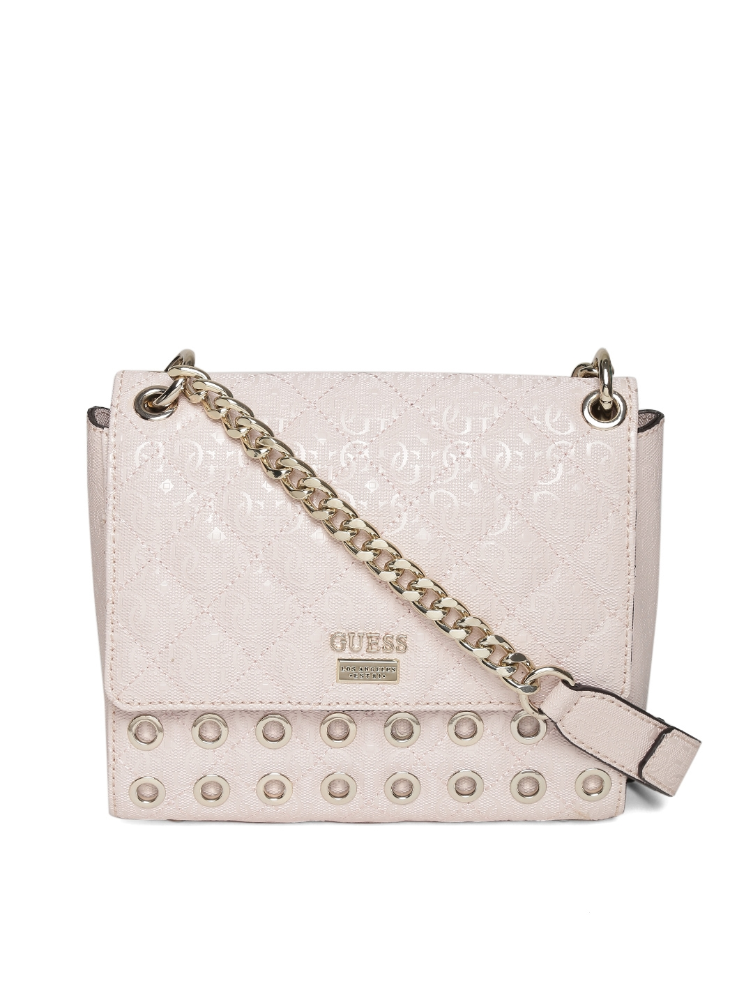 Buy GUESS Light Pink Logo Textured   Quilted Sling Bag - Handbags for Women  1738154   Myntra c22209dc93
