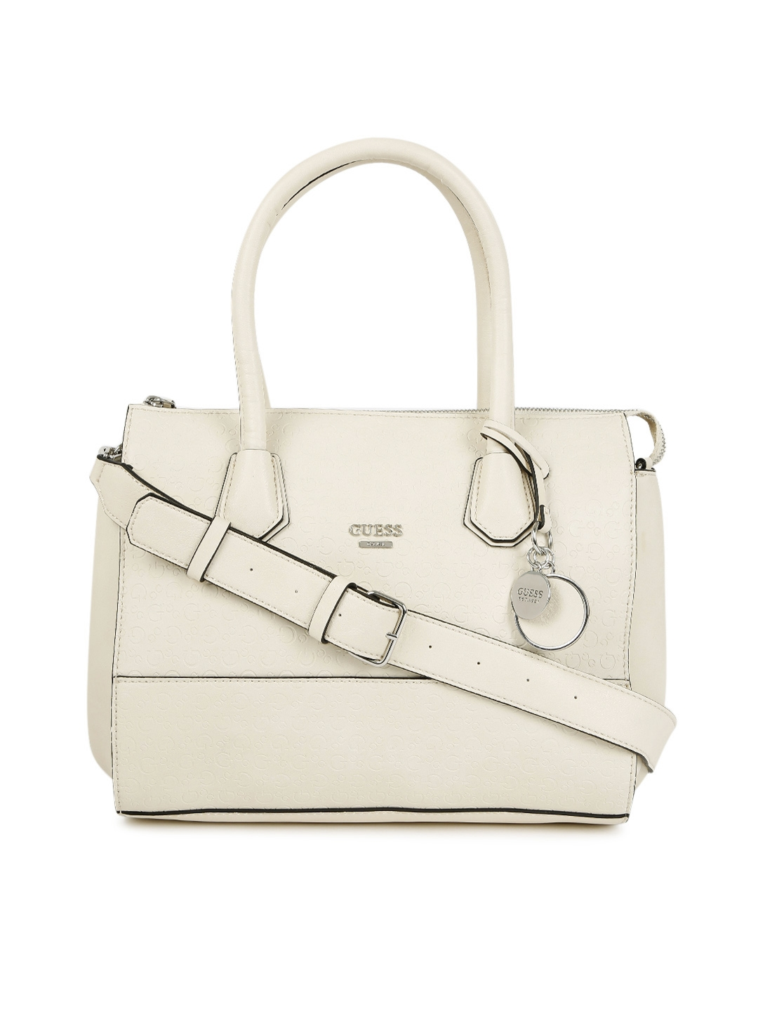 Buy GUESS Cream Coloured Textured Handbag