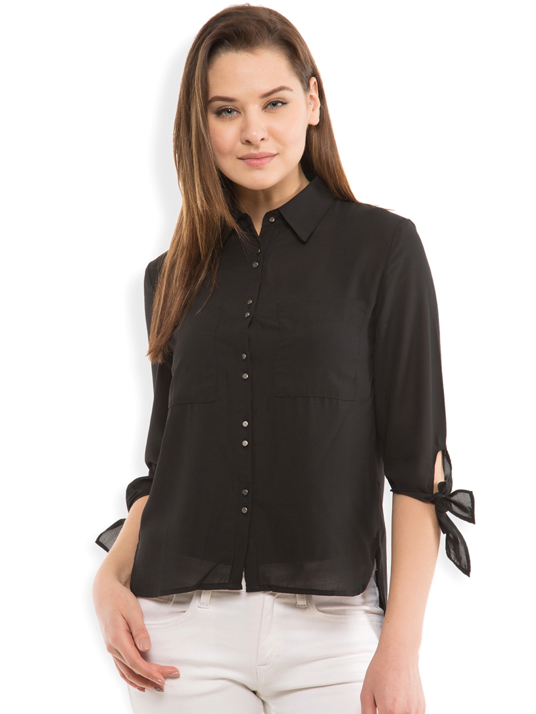 Tokyo Talkies Women Black Regular Fit Solid Casual Shirt