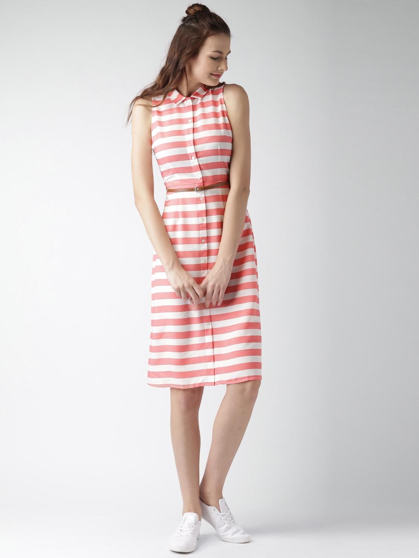 ed3c8963551 Buy Mast   Harbour Coral Pink   White Striped Shirt Dress - Dresses ...