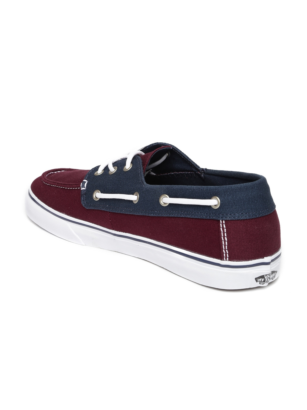 ... vans men burgundy colourblocked boat shoes casual shoes for ... 65e73736f
