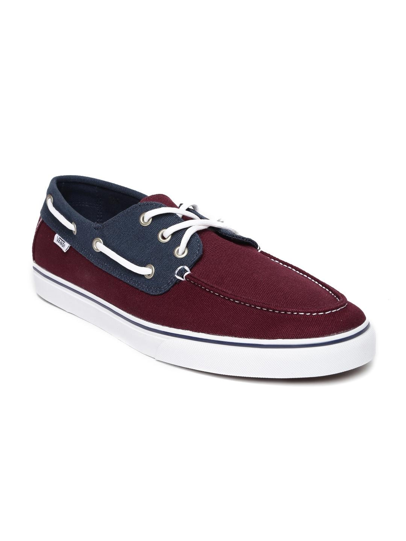 56bebd708744 ... vans men burgundy colourblocked boat shoes casual shoes for ...