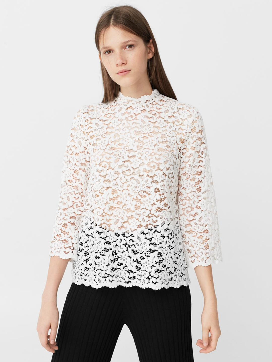 f322566c028147 Buy MANGO Women Off White Lace Top - Tops for Women 1740453