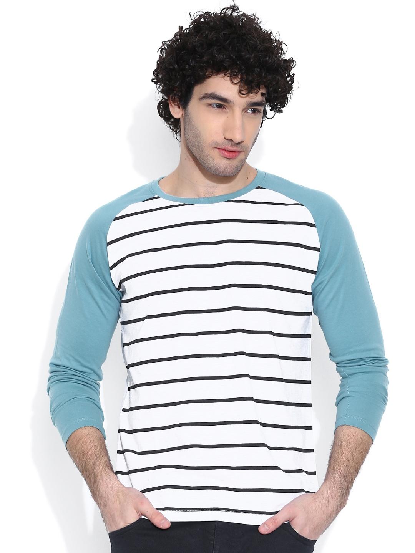 CULT FICTION Men White   Blue Striped Round Neck T shirt