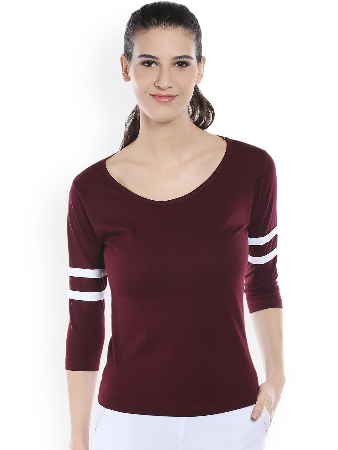 The Dry State Women Burgundy Solid Round Neck T shirt