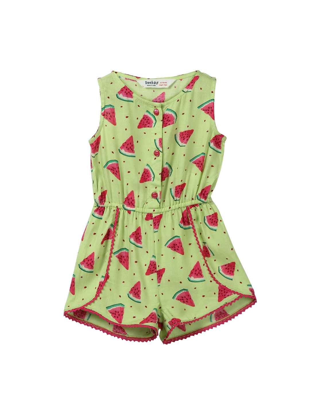 b72d29f8415 Buy Beebay Girls Green   Red Printed Playsuit - Jumpsuit for Girls ...