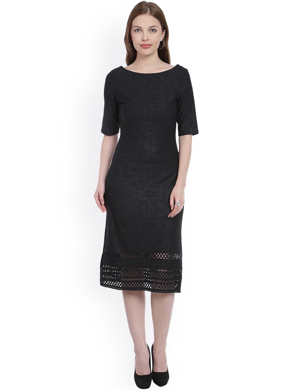 bb8a36adb87d4 Buy Zink London Women Black Self Design A Line Dress - Dresses for ...