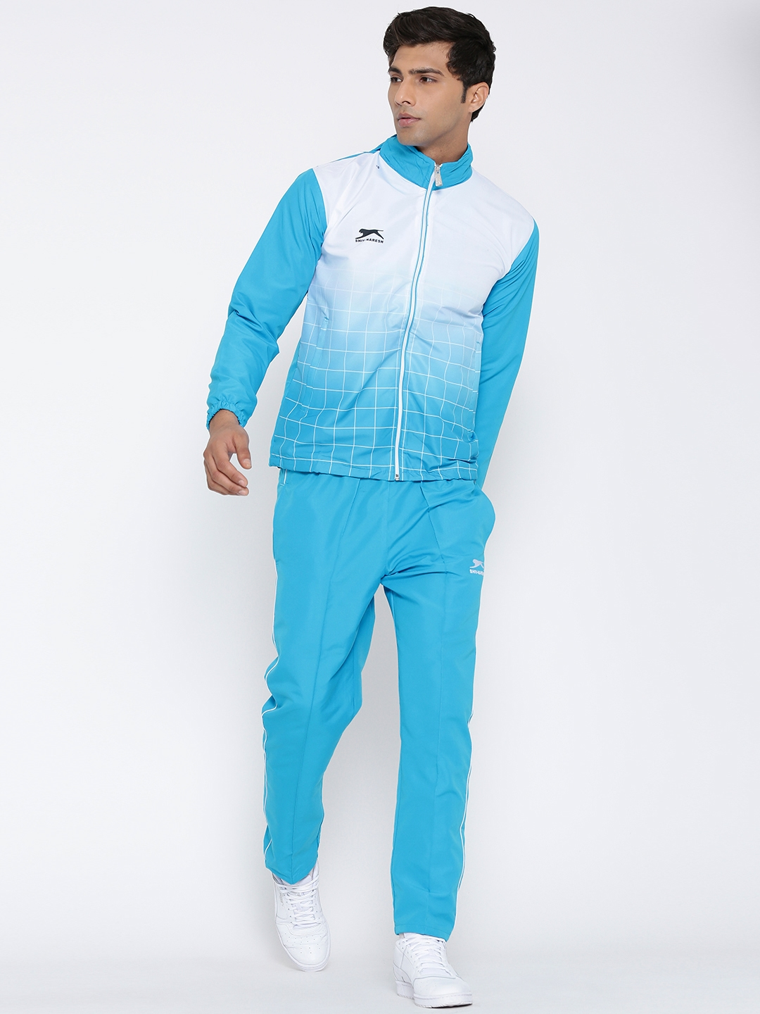 bcaf5c0f5e05 Buy Shiv Naresh Blue Checked Tracksuit With Detachable Hood ...