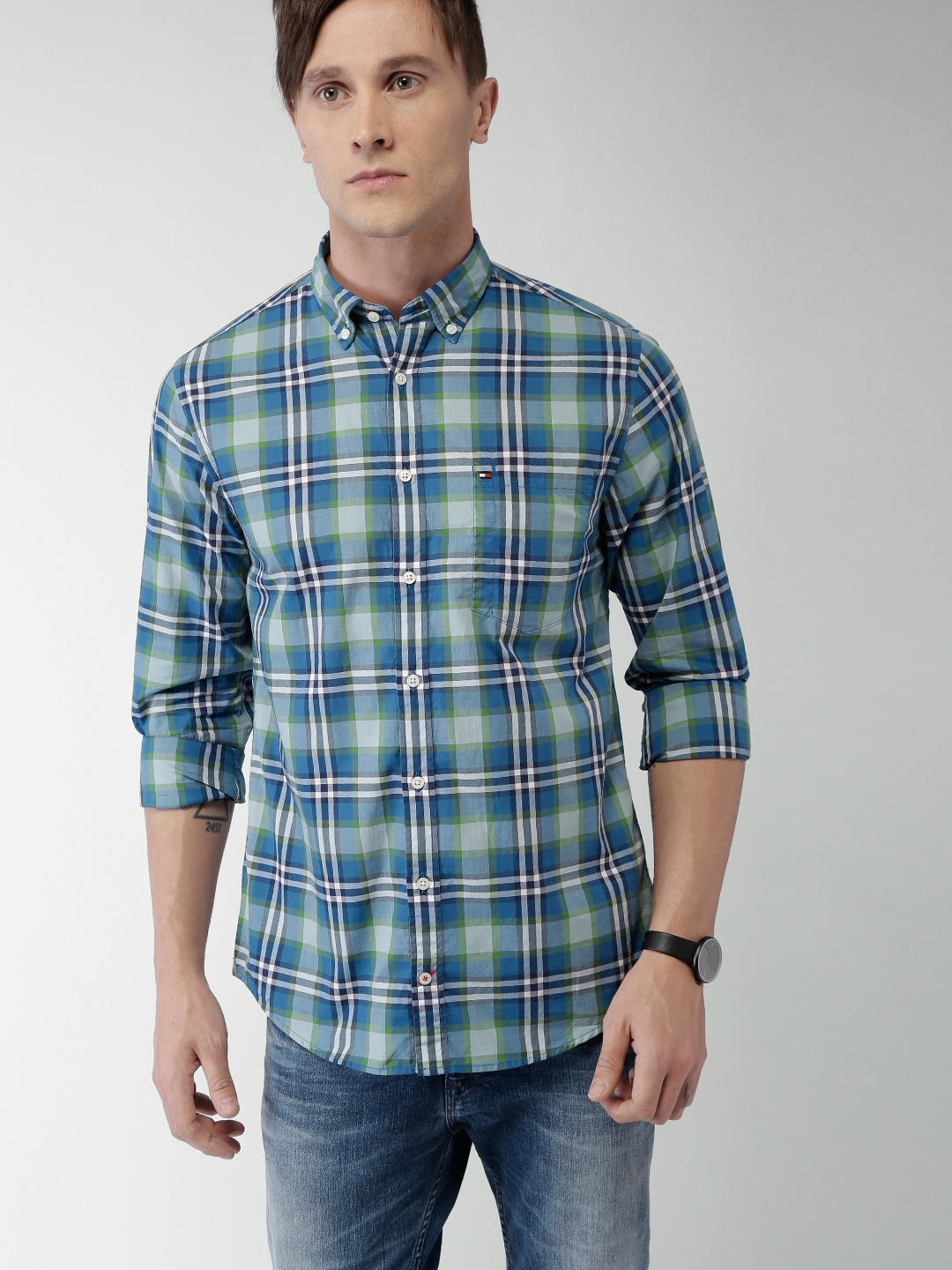 Buy Tommy Hilfiger Men Blue Checked Casual Shirt Shirts For Men