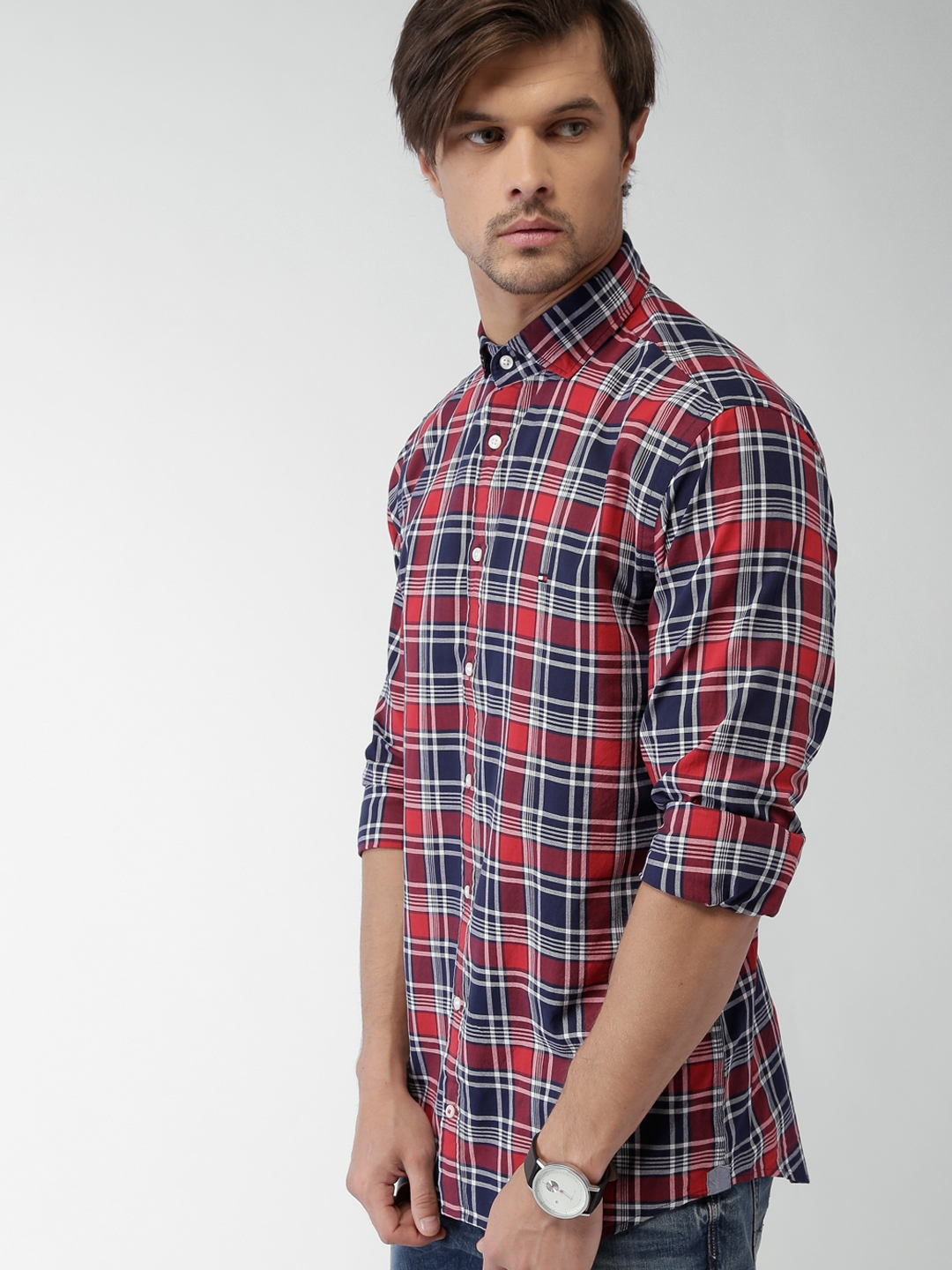 330c63d40 Buy Tommy Hilfiger Men Red & Navy Checked Casual Shirt - Shirts for ...