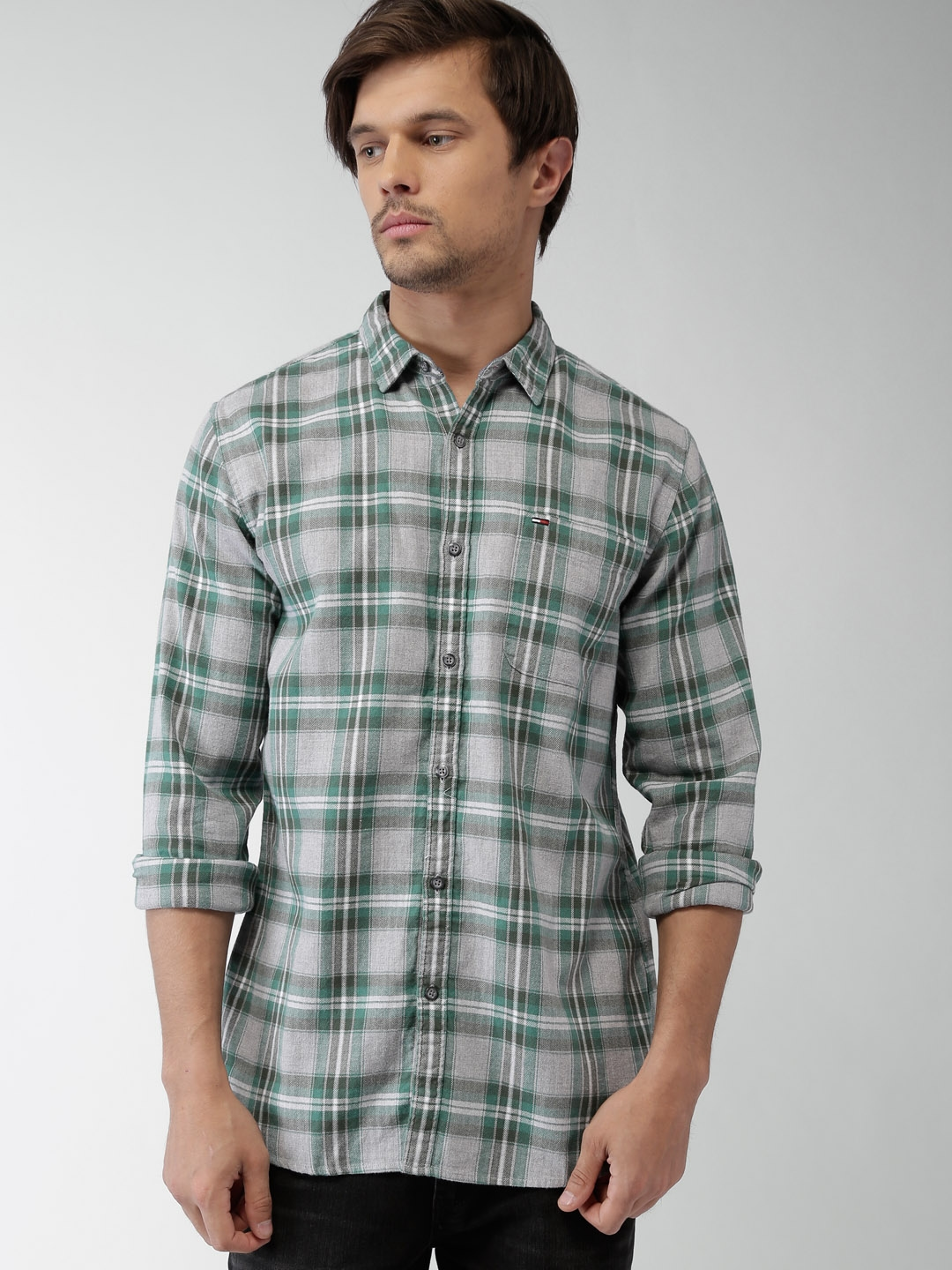 3ba942c5 Buy Tommy Hilfiger Grey & Green Checked Casual Shirt - Shirts for ...