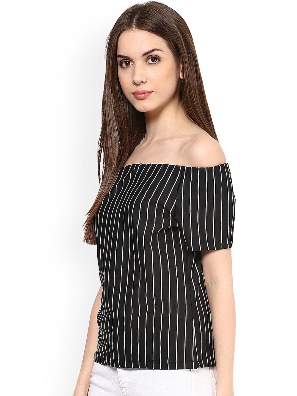 c83f4070966 Buy Harpa Black & White Striped Off Shoulder Top - Tops for Women ...