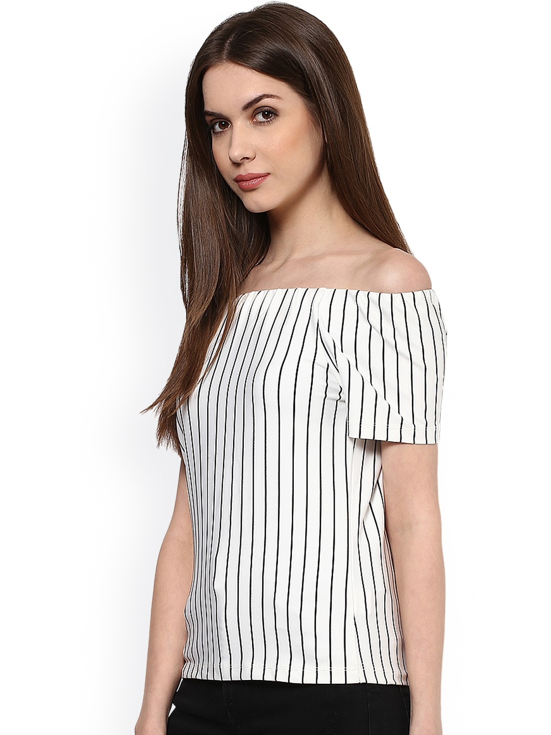 ce891099c31949 Buy Harpa White   Black Striped Off Shoulder Top - Tops for Women ...