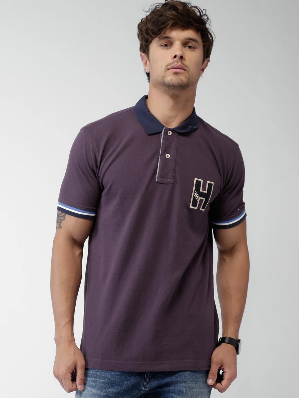 c1e6d042b Buy Tommy Hilfiger Men Purple Solid Polo T Shirt - Tshirts for Men ...