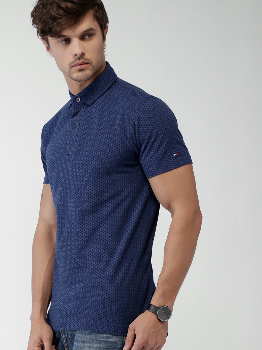 6baa178d Buy Tommy Hilfiger Blue Printed Slim Fit Polo T Shirt - Tshirts for ...