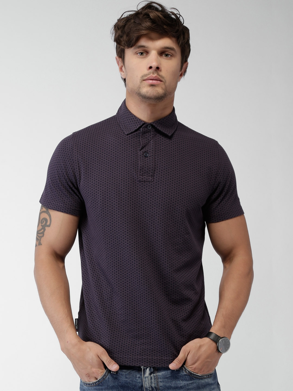 e8e26f2f5 Buy Tommy Hilfiger Men Purple Printed Polo T Shirt - Tshirts for Men ...