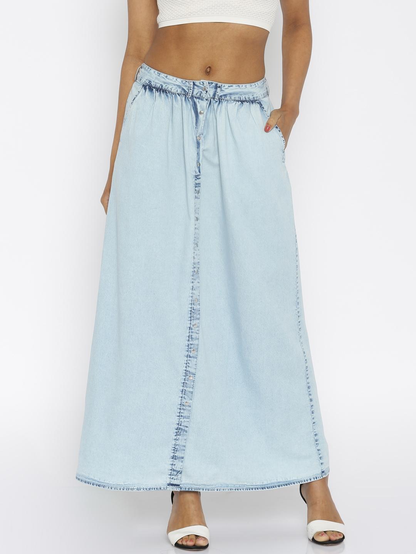 6f0d67f6e2 Buy Vero Moda Blue Denim Maxi Skirt - Skirts for Women 1745561 | Myntra