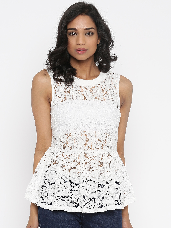 35ce61eede88b4 Buy Vero Moda Women White Self Design Peplum Lace Top - Tops for ...