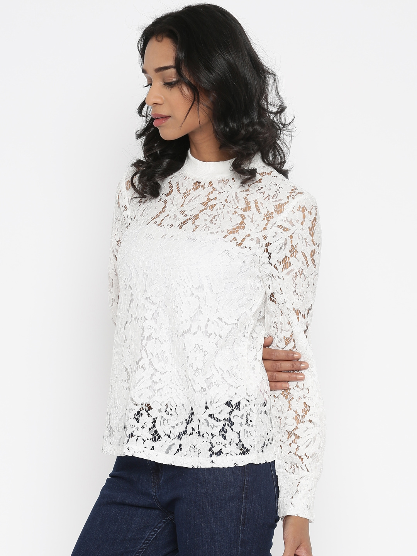 02416cb6bdb7 Buy Vero Moda White Lace Top - Tops for Women 1745575 | Myntra