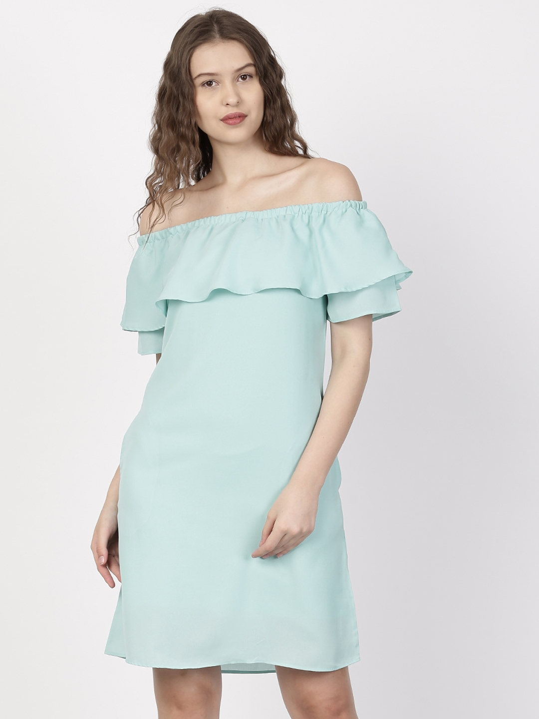 d77a8240e39a Buy Ether Women Mint Green Solid Off Shoulder Dress - Dresses for ...