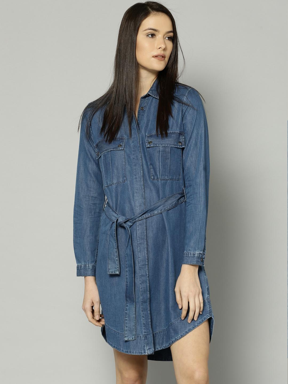 5ae7de4054 Buy Marks   Spencer Women Blue Denim Shirt Dress - Dresses for Women ...