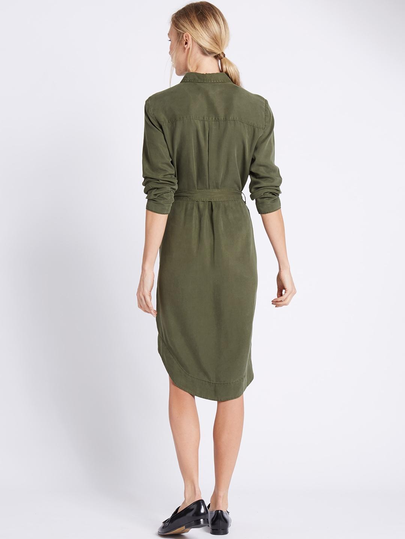 bc2630229 Buy Marks   Spencer Women Olive Green Solid Shirt Dress - Dresses ...