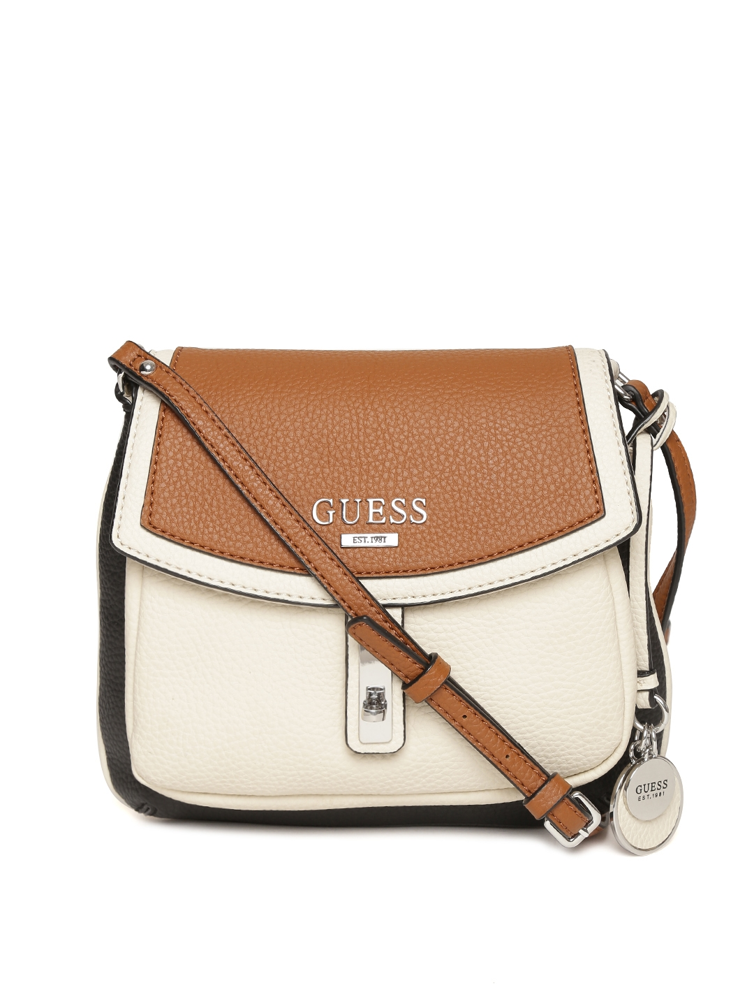 b8ab299ccb Buy GUESS Brown   Off White Colourblocked Sling Bag - Handbags for Women  1749500