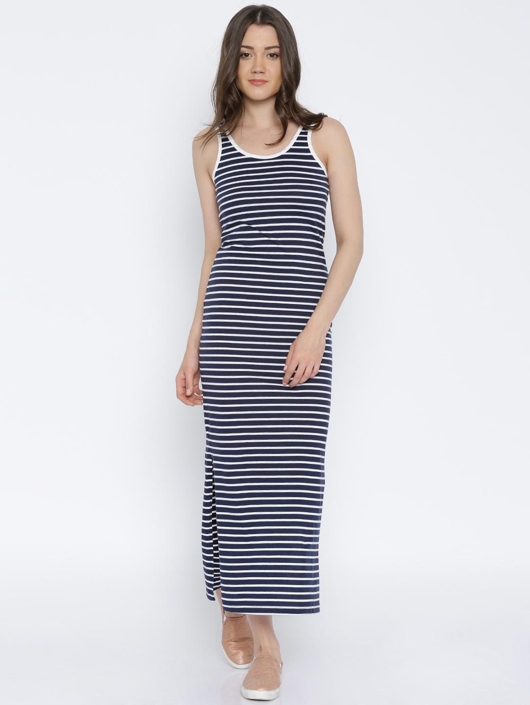 e31bab415ea Buy Vero Moda Women Navy   White Striped Maxi Dress - Dresses for ...