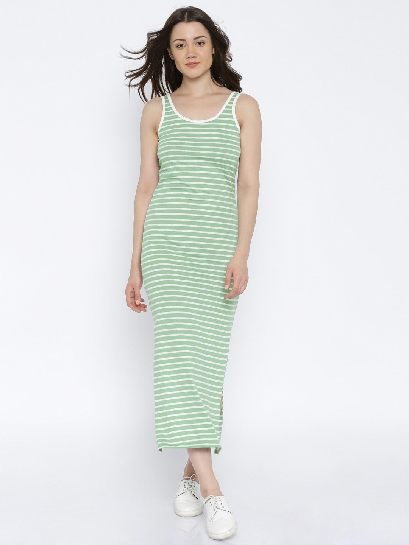 db000f353794 Buy Vero Moda Women Green   White Striped Maxi Dress - Dresses for ...