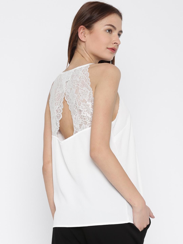55838ea306fd4 Buy Vero Moda Women White Top With Lace Yoke - Tops for Women ...