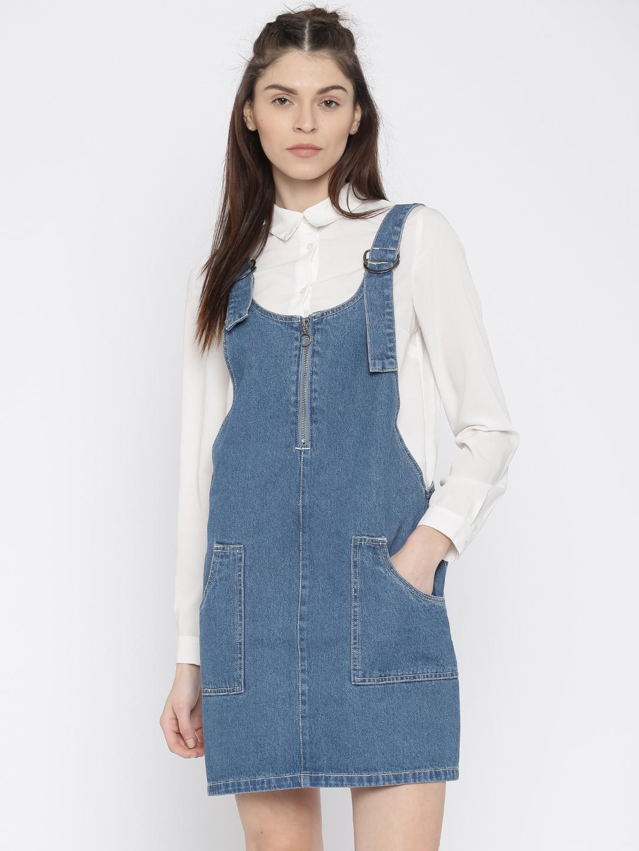 de920031825 Buy Vero Moda Women Blue Solid Dungaree Dress - Dresses for Women ...