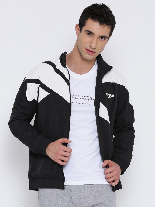 Buy Reebok Classic Black   White LF Vector Colourblocked Track Jacket -  Jackets for Men 1751393  d8583181c