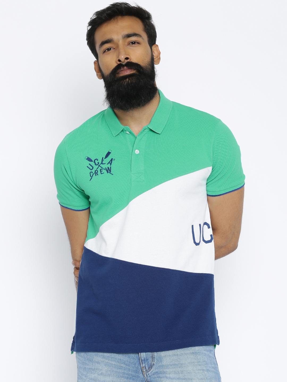 2753dfebf Buy UCLA Men Green & White Colourblocked Polo T Shirt - Tshirts for Men  1752426   Myntra