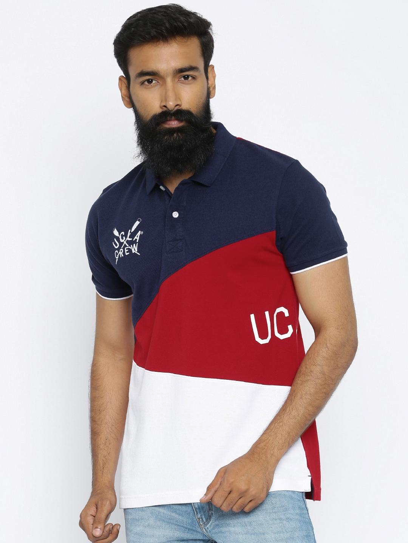 fb6ae4c1dc7c Buy UCLA Navy & Red Colourblocked Polo T Shirt - Tshirts for Men 1752427 |  Myntra