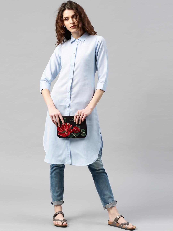 Buy libas women blue solid pathani kurta kurtas for for Myntra t shirt design