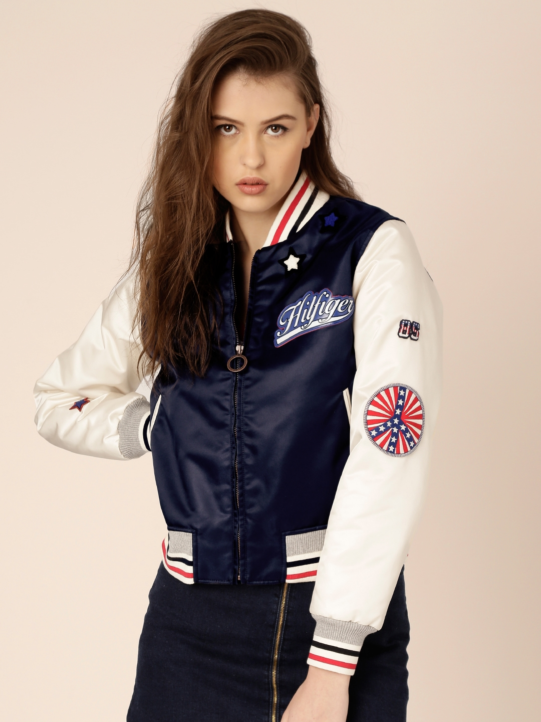 9717a2a1 Buy Tommy Hilfiger By Gigi Hadid Navy Young America Bomber Jacket - Jackets  for Women 1753089 | Myntra