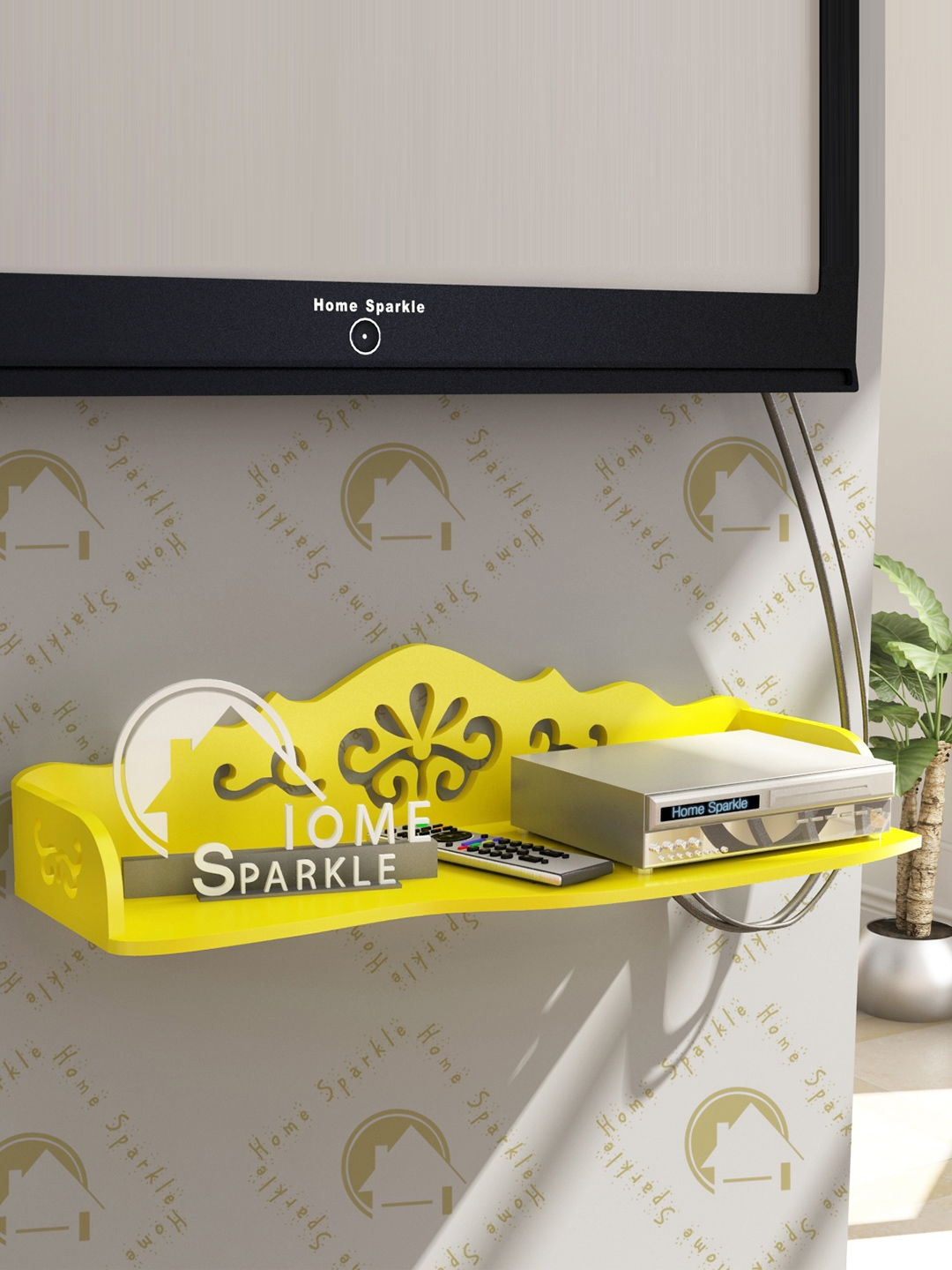 Home Sparkle Yellow Carved Wooden Wall Shelf