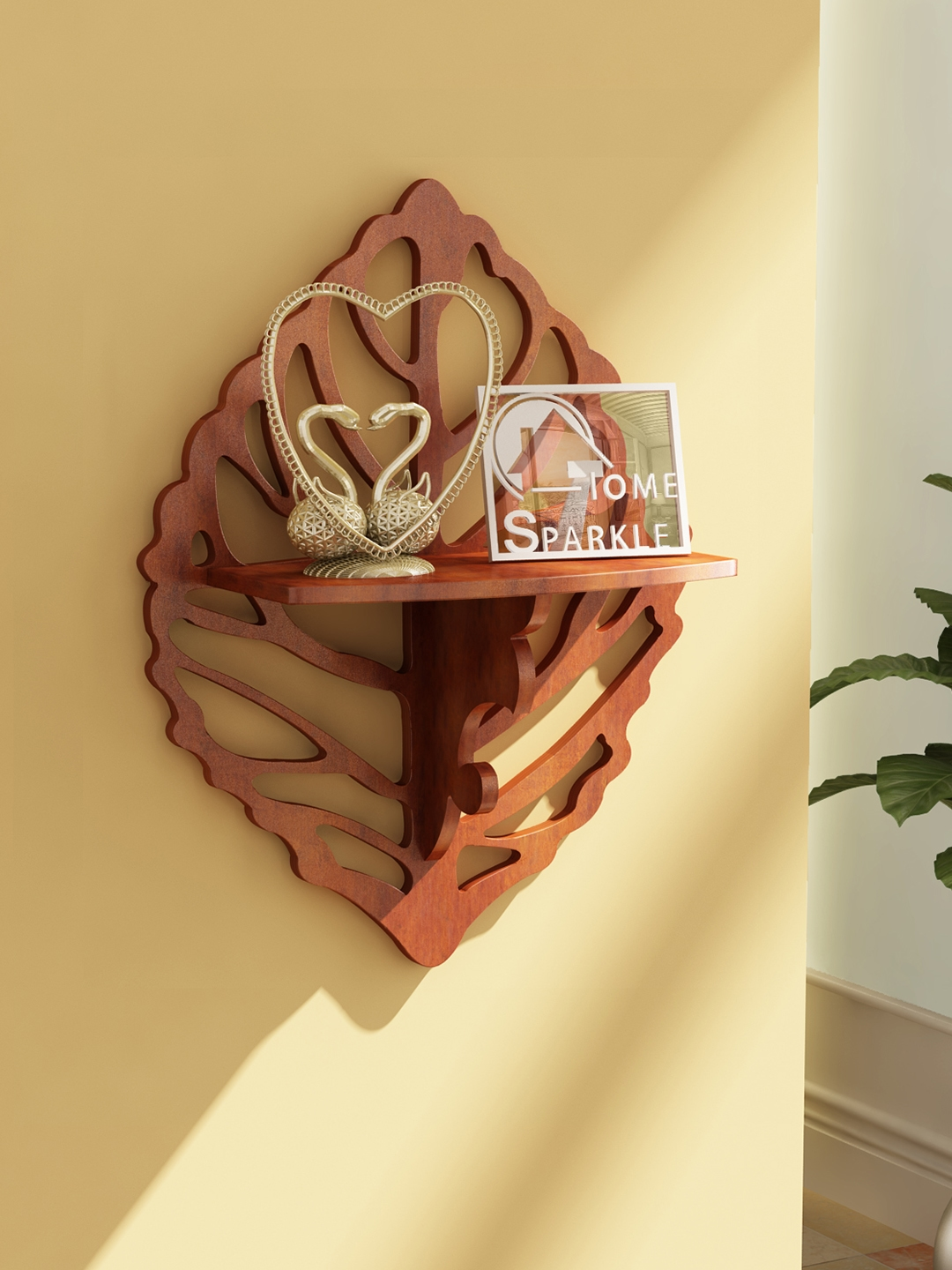 Home Sparkle Brown Carved Wall Shelf