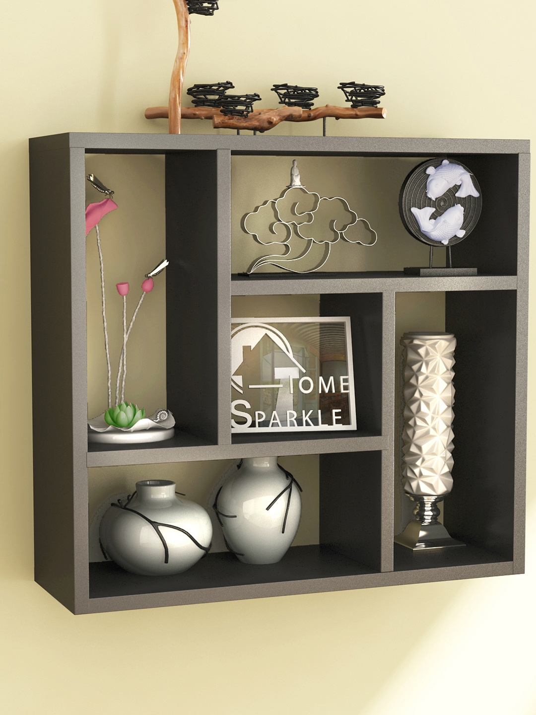 Wall shelves buy wall shelf online in india myntra home sparkle black square wall shelf amipublicfo Gallery
