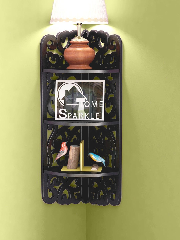 Home Sparkle Black Carved Wooden Corner Shelf