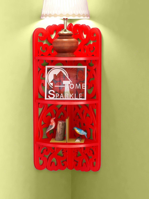 Home Sparkle Red Carved Wooden Corner Shelf