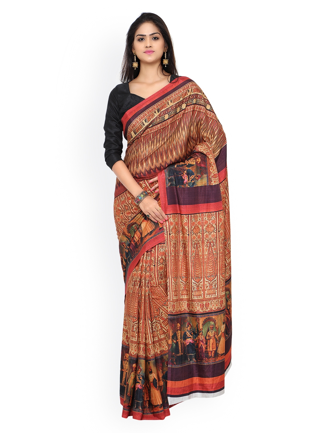 26d0df79fa08a Buy Inddus Beige   Brown Crepe Printed Saree - Sarees for Women ...