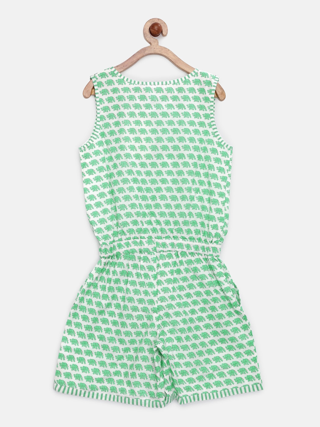 d513321fa9f Buy Biba Girls White   Green Block Print Playsuit - Jumpsuit for ...