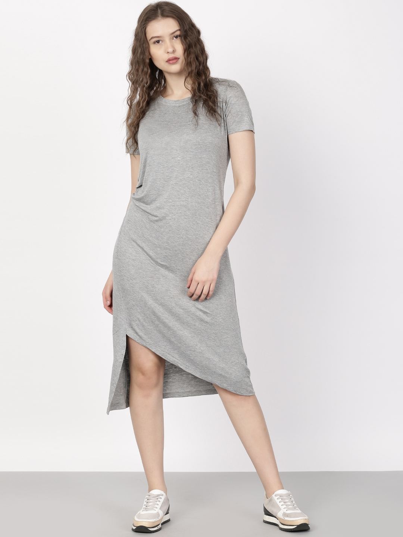 d11b7855b8 Buy Ether Grey Solid T Shirt Dress - Dresses for Women 1755109