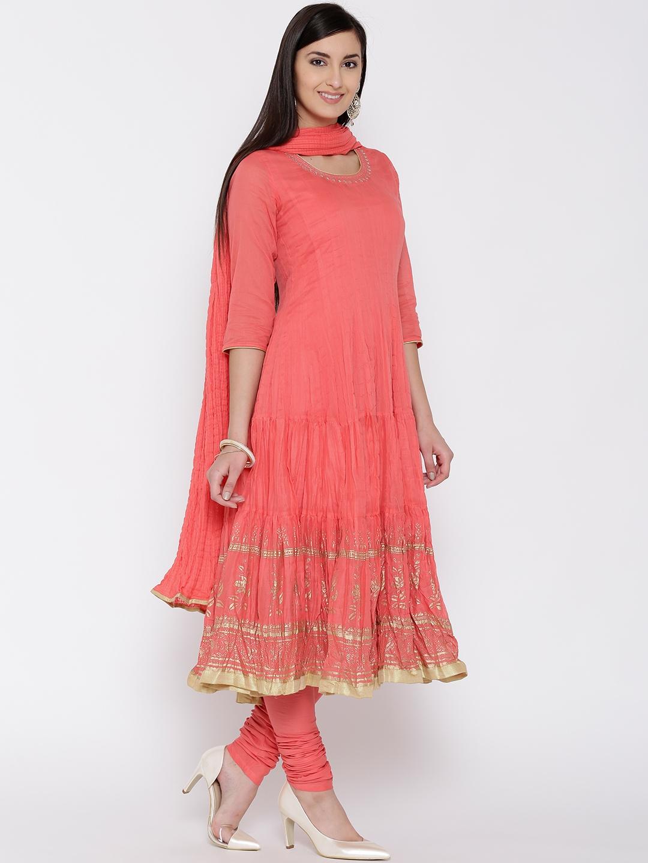 c88d05a2397 Buy Biba Coral Pink Churidar Anarkali Kurta With Dupatta - Kurta ...