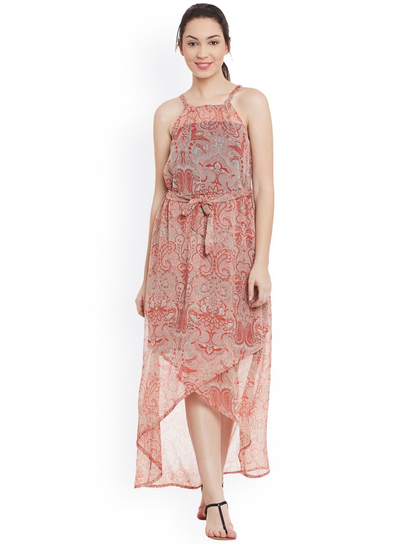 87670067d1f6 Buy The Gud Look Women Peach Printed Maxi Chiffon High Low Dress ...