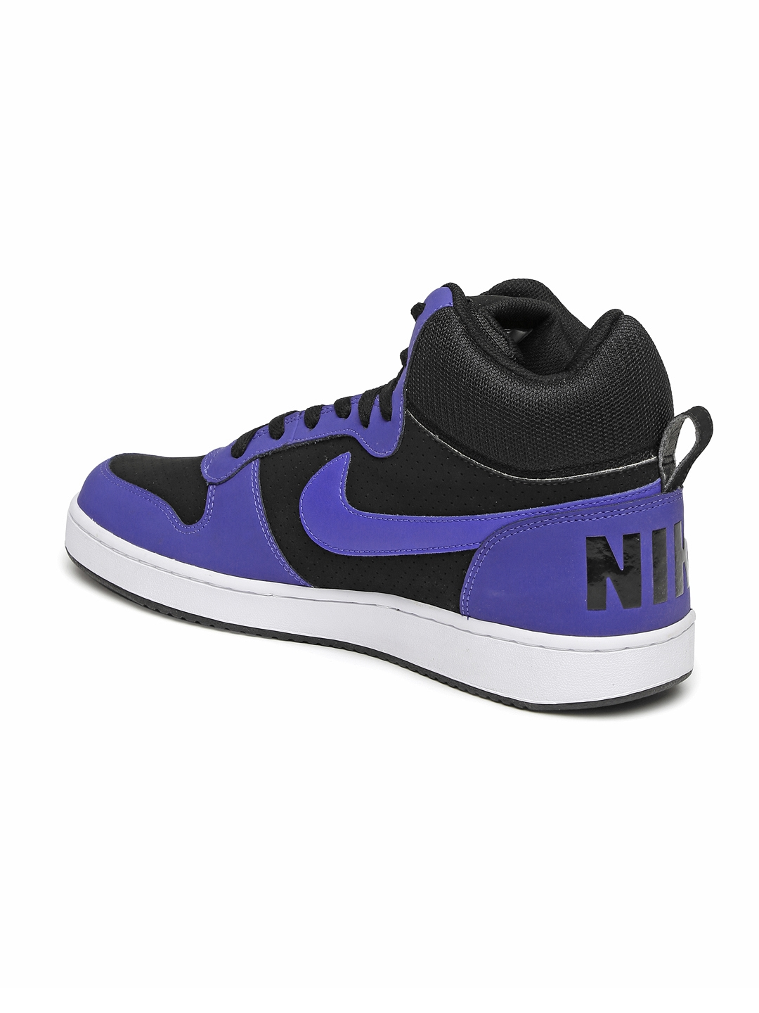 441bcd716e7c Buy Nike Men Black   Blue Perforated Mid Top Court Borough Trainers ...