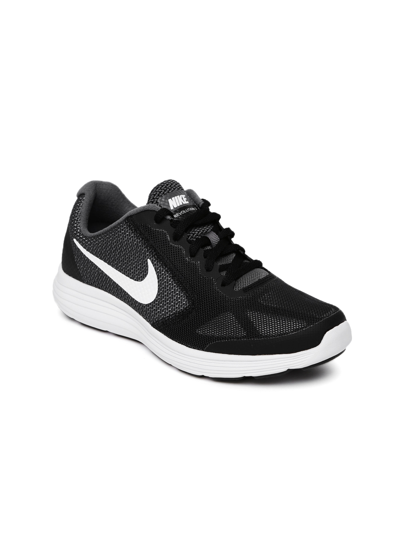 308654ebca198a Buy Nike Boys Charcoal Grey   Black Revolution 3 (GS) Running Shoes ...